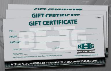 Bruce Henn's Garage Gift Certificates