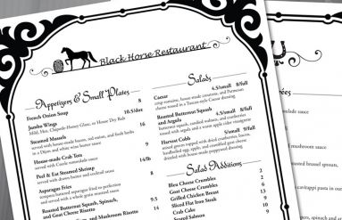 Black Horse Restaurant Menu